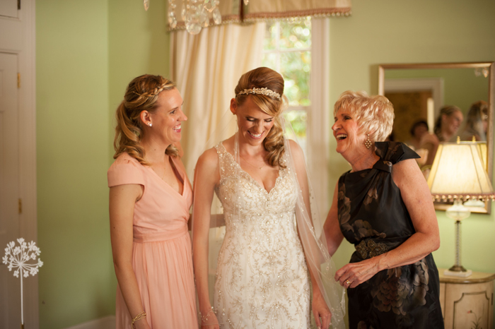 Candid Moment Between Mother Daughter and Sister at Wedding