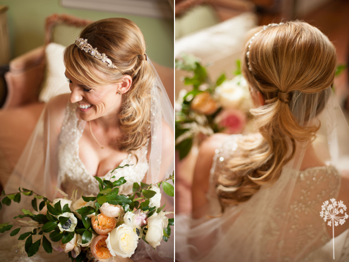 Up do and beautiful head piece for wedding in Charleston South Carolina