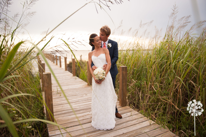Bride and Groom on Dock in Outerbanks North Carolina