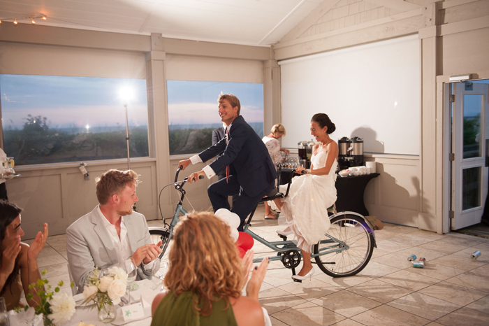 Tandem Bicycle For Unique Bride and Groom Entrance