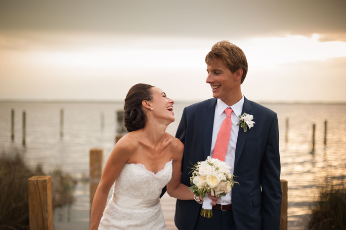 Candid Moment between Bride and Groom in Outerbanks North Carolina