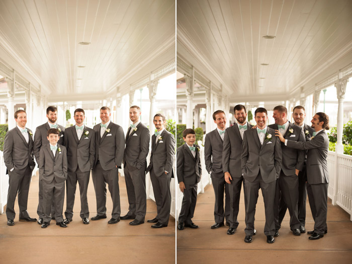 Groomsmen Pictures Out Front of Grand Floridian