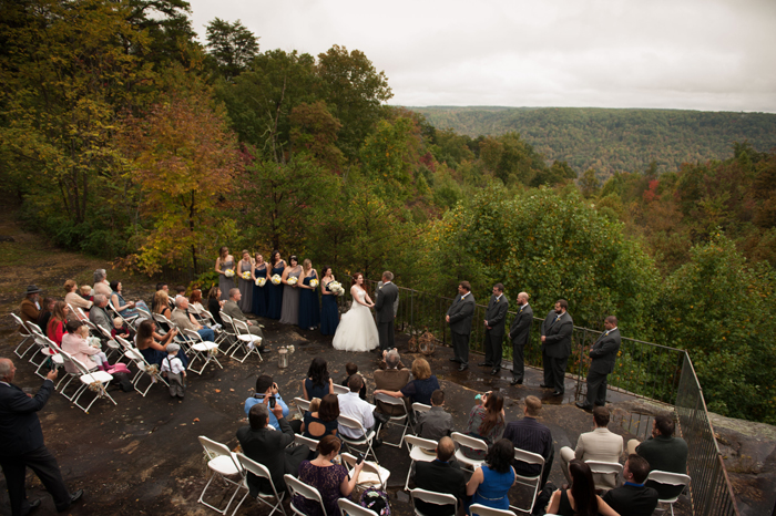Wedding Ceremony overlooking Mountain in Tennessee during Fall