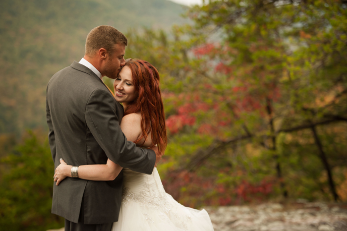 Bride and Groom Portraits On Bee Rock Tennessee