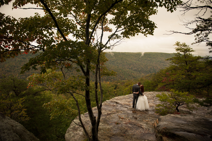 Bride and Groom Wedding Photos On Mountainside of Tennessee