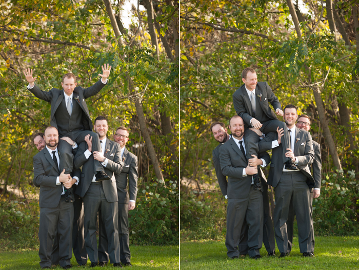 Groomsmen wearing fitted suits at Phoenixville Foundry
