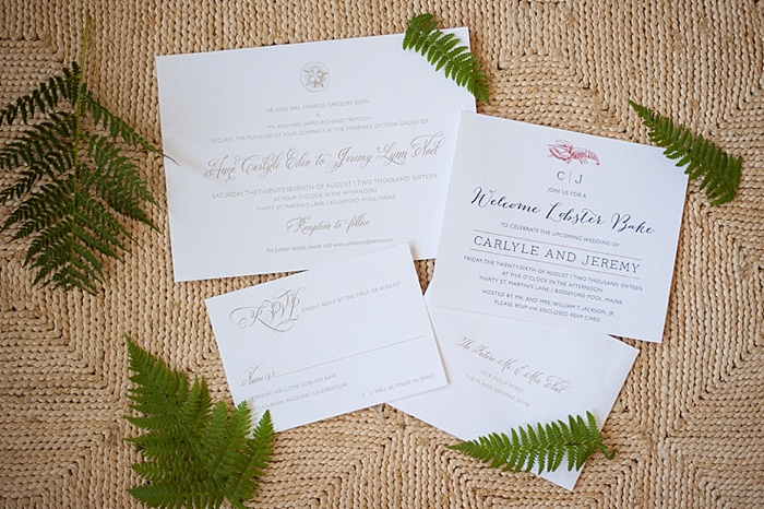 Easy Wedding Invitations for a summer wedding in Maine