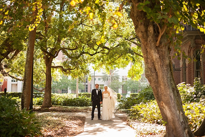 Couple poses for a photo at University of Tampa