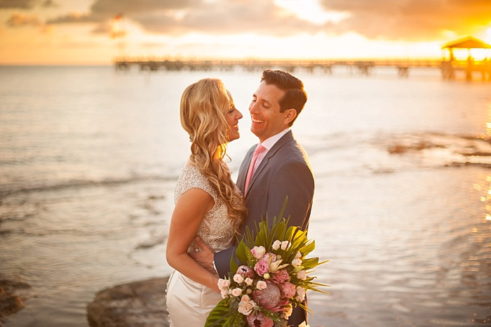 Bride and Groom Poses at sunset in Key West Florida
