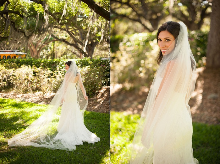 Stephanie A Smith Photography captures bridal portraits with brides cathedral length veil