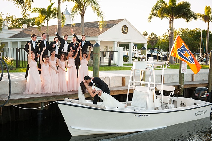 Bridal Party images on a boat
