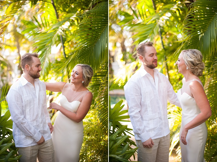 Bride and groom have their first look at the Caribbean Resort in Islamorada Florida