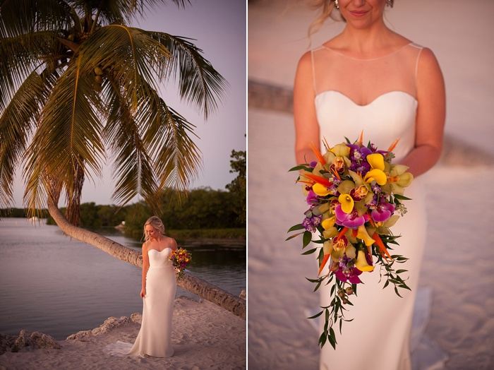Bride wearing chic nostalgia poses in front of iconic palm tree at Morada Bay