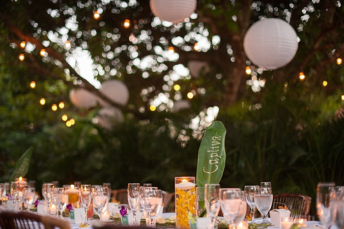 banana leaf table center pieces at coral gables wedding