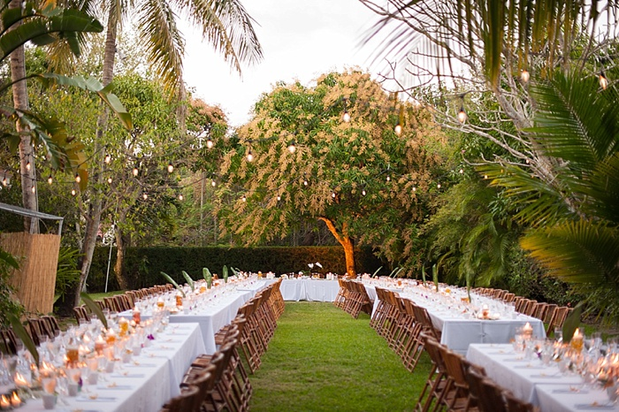 feasting tables in a backyard wedding in Coral Gables Florida