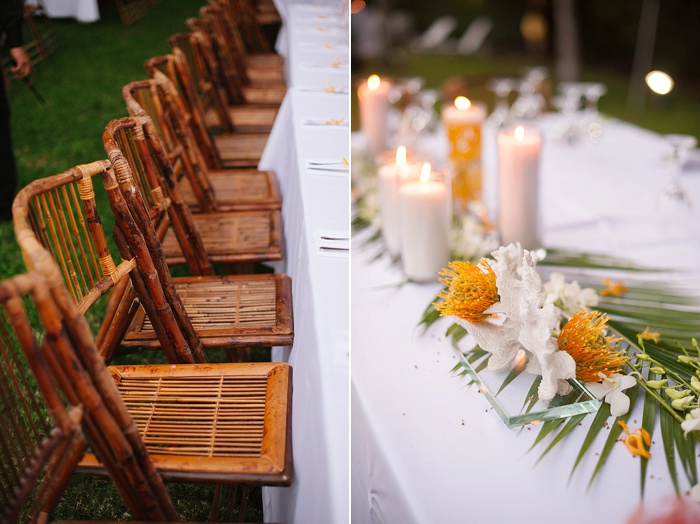 Bamboo chairs are amazing upgrades to the typical wedding chairs