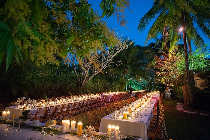 night time reception shot of backyard Coral Gables wedding
