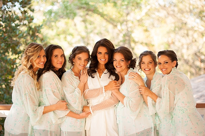 Bridesmaids in spring time robes before the ceremony