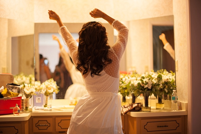 Bride dancing before her wedding ceremony