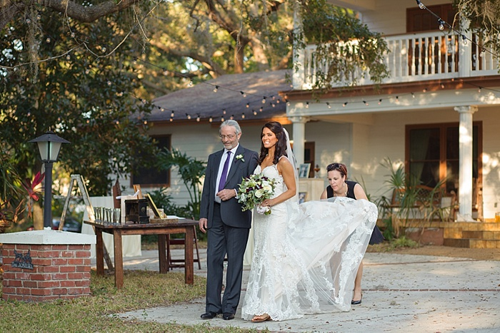 Wedding ceremony on grandfathers property in Dunedin Florida