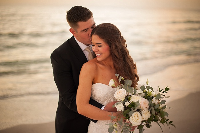 Bride and Groom portraits on St Pete Beach at Post Card Inn